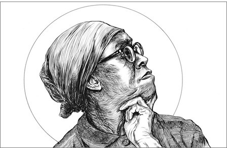 Black and white illustration of Gwendolyn Brooks.