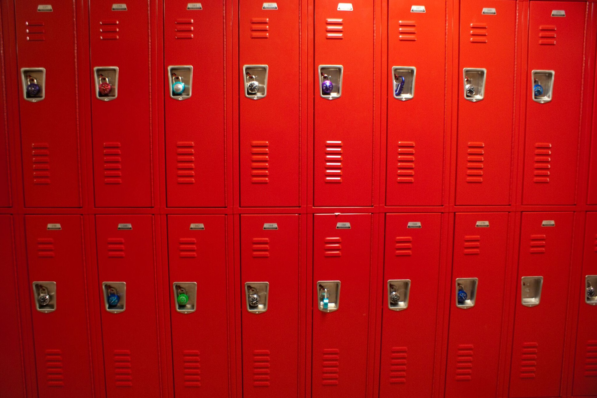 Photograph of red locker.