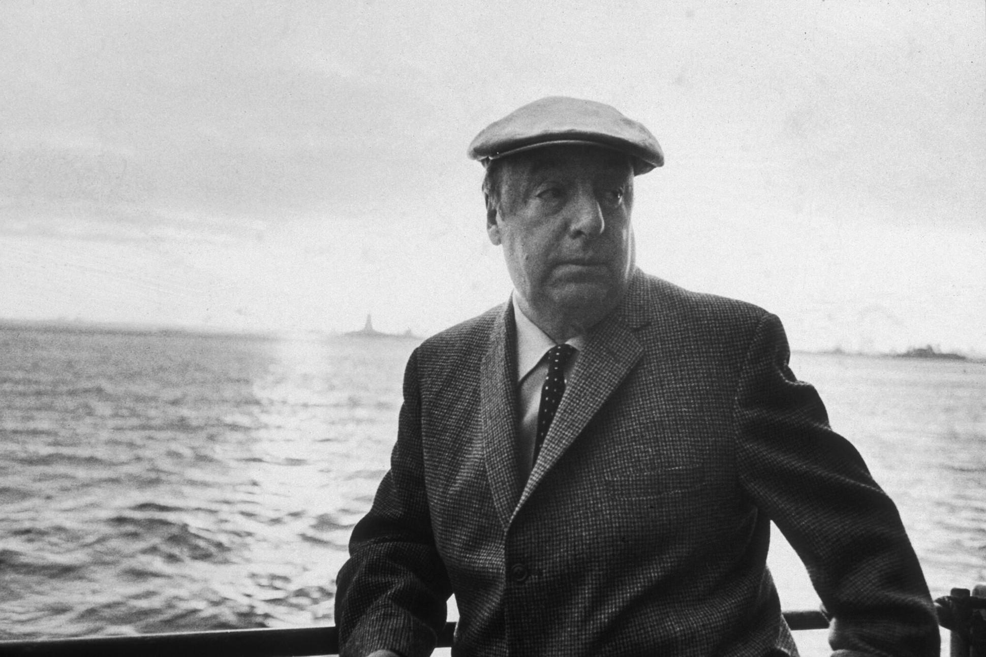 Black and white photograph of Pablo Neruda.
