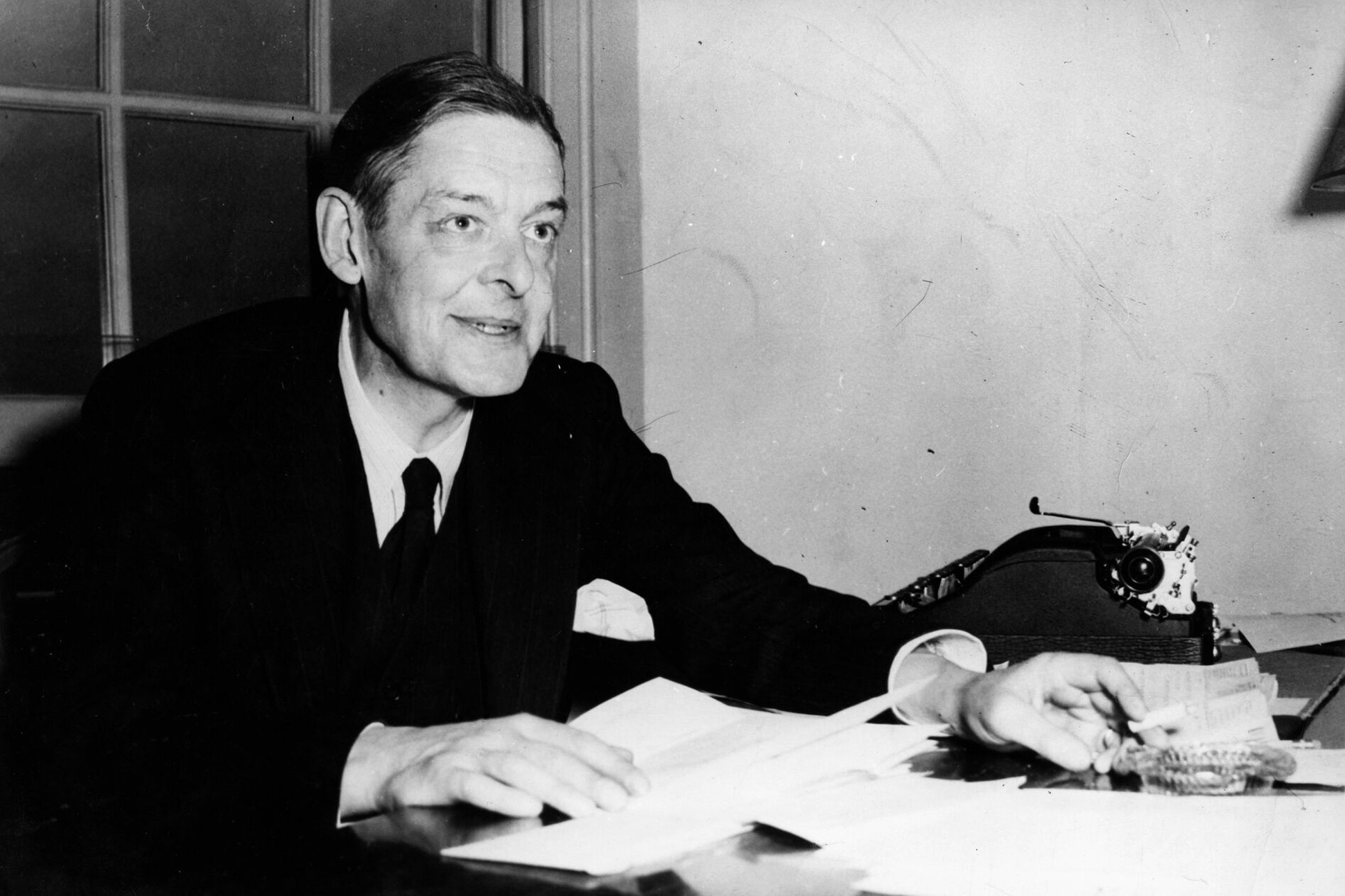 Black and white image of T.S. Eliot.