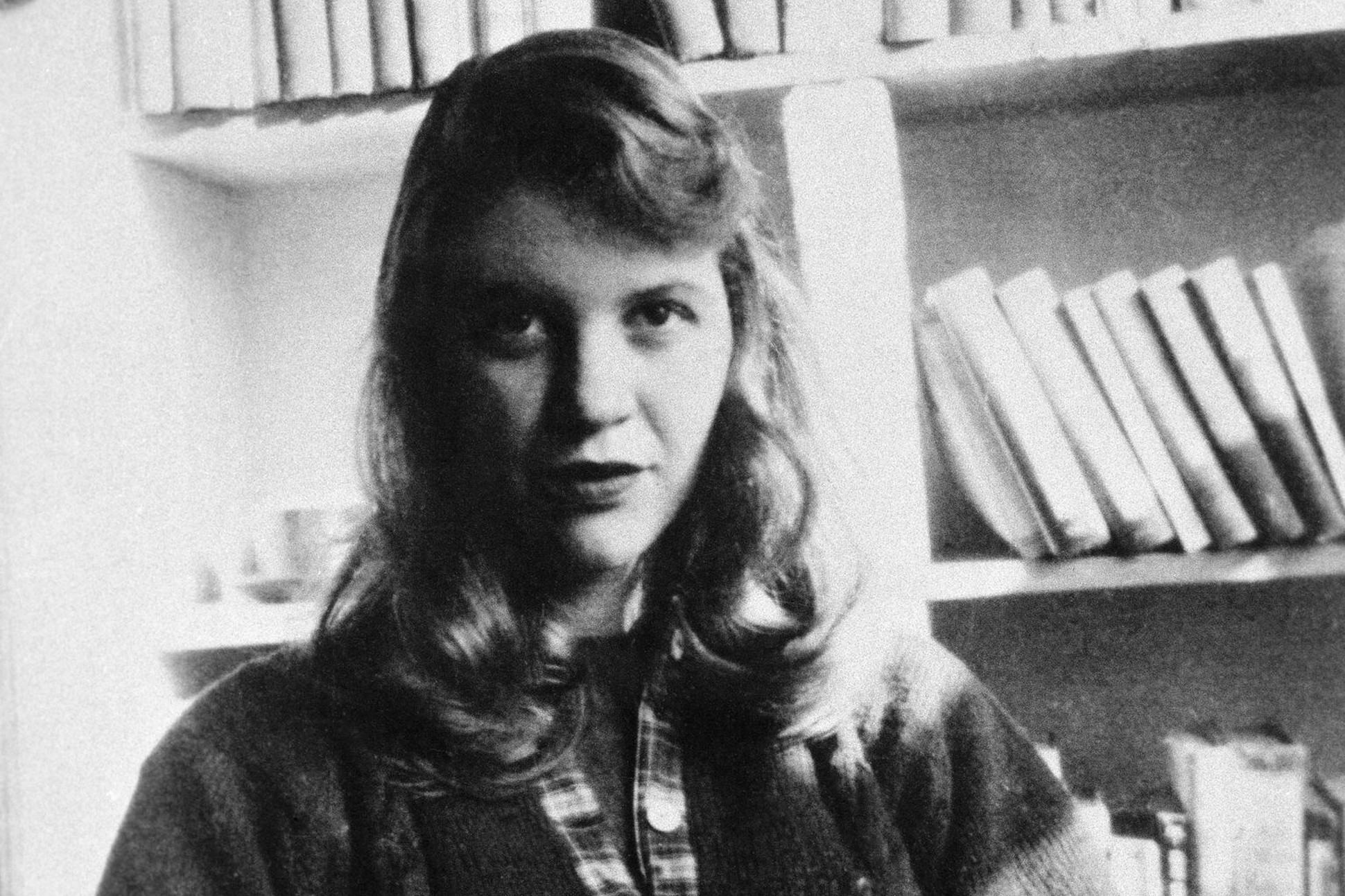 Black and white photograph of Sylvia Plath