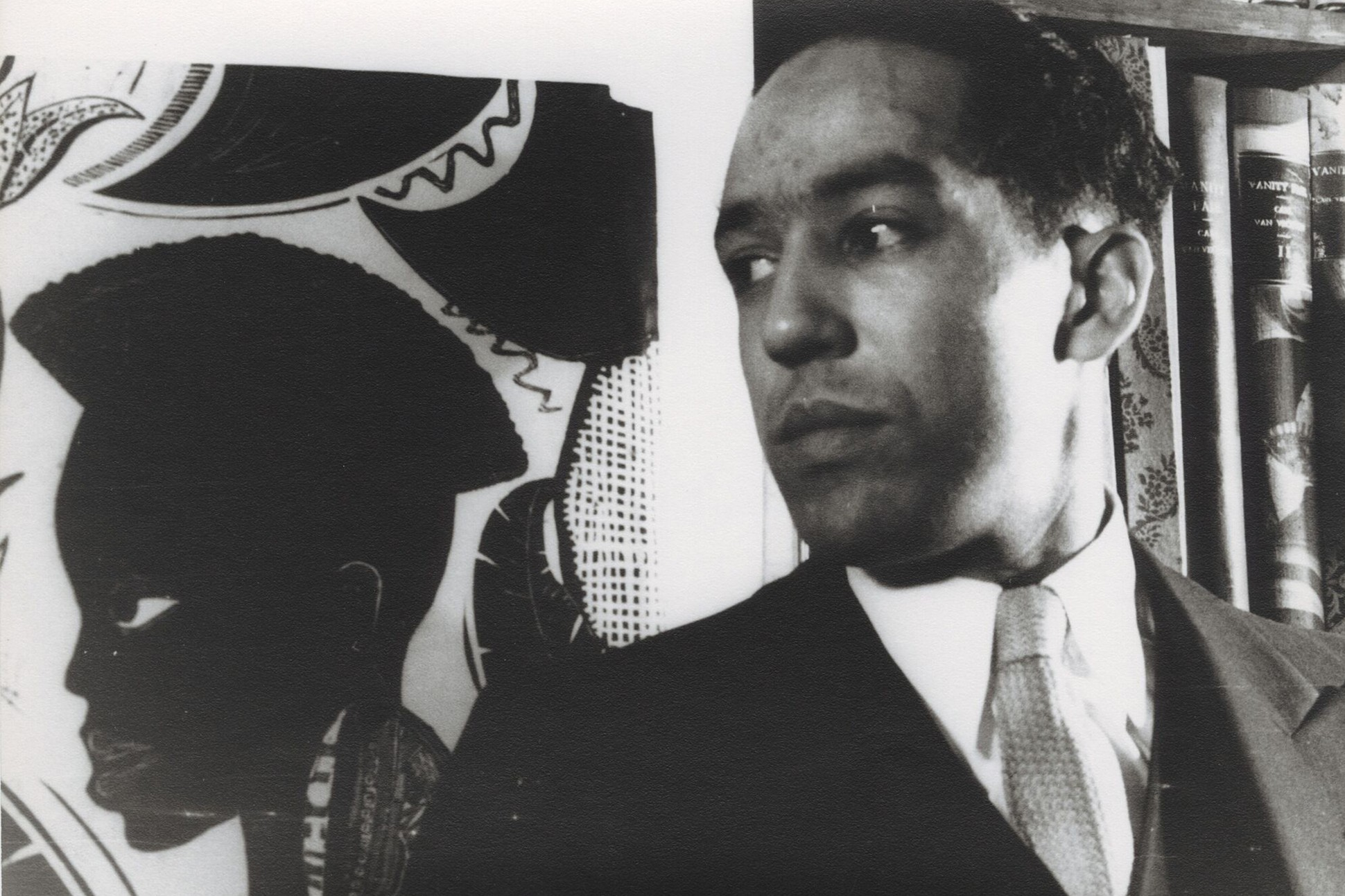 Black and white image of Langston Hughes