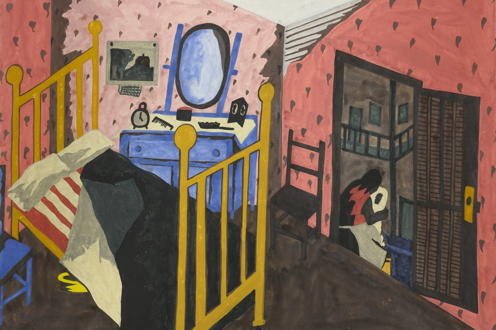 """Painting by Jacob Lawrence titled, """"Virginia Interior."""" Painting is of a bedroom."""