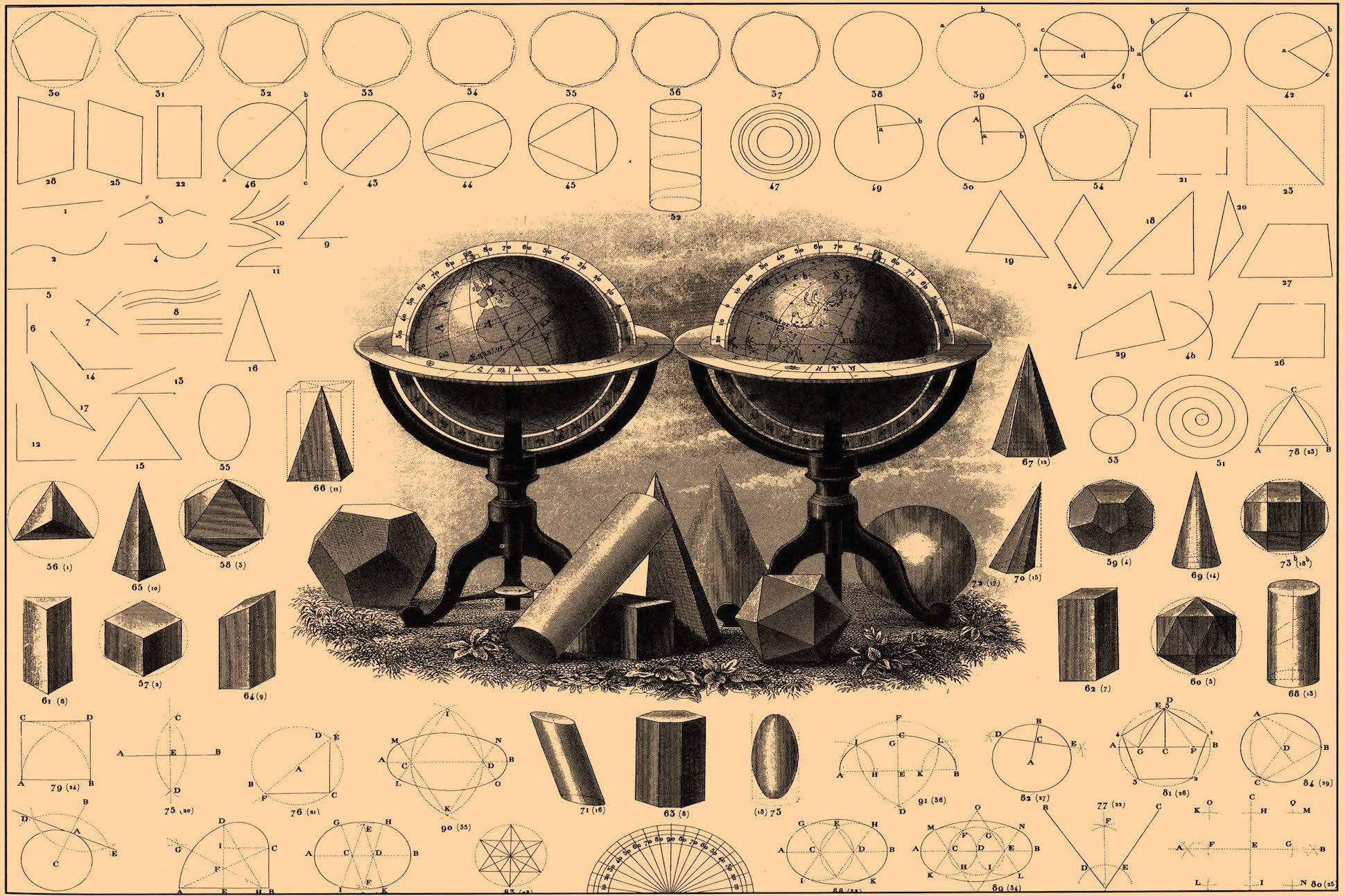 Image of encyclopedia excerpt, depicting several examples of geometric shapes and designs.