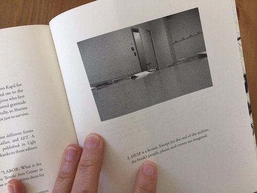 Black and white image of empty room from Jill Magi's LABOR.