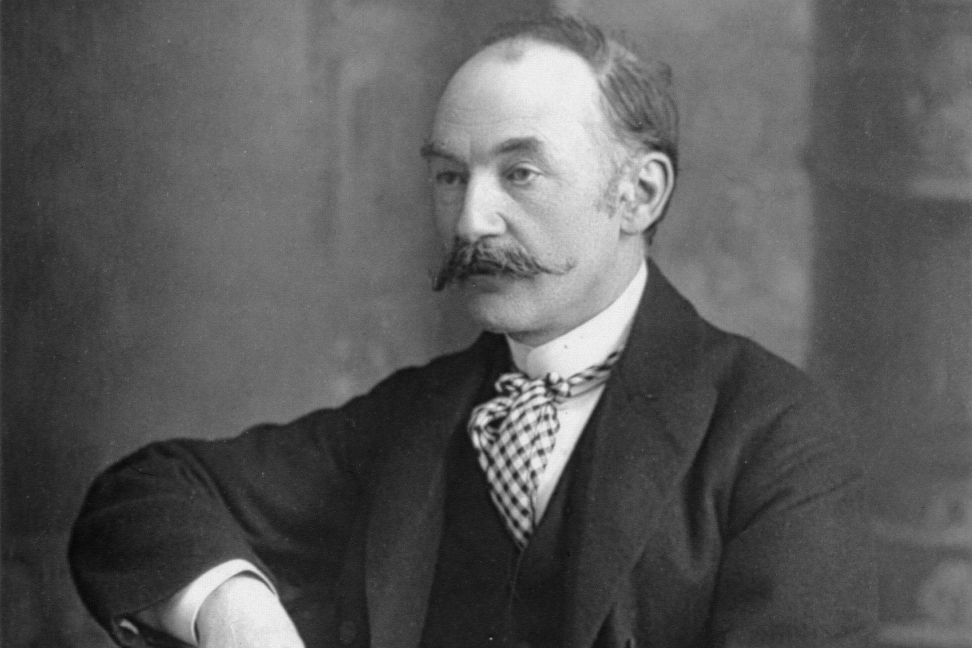 Black and white photograph of Thomas Hardy