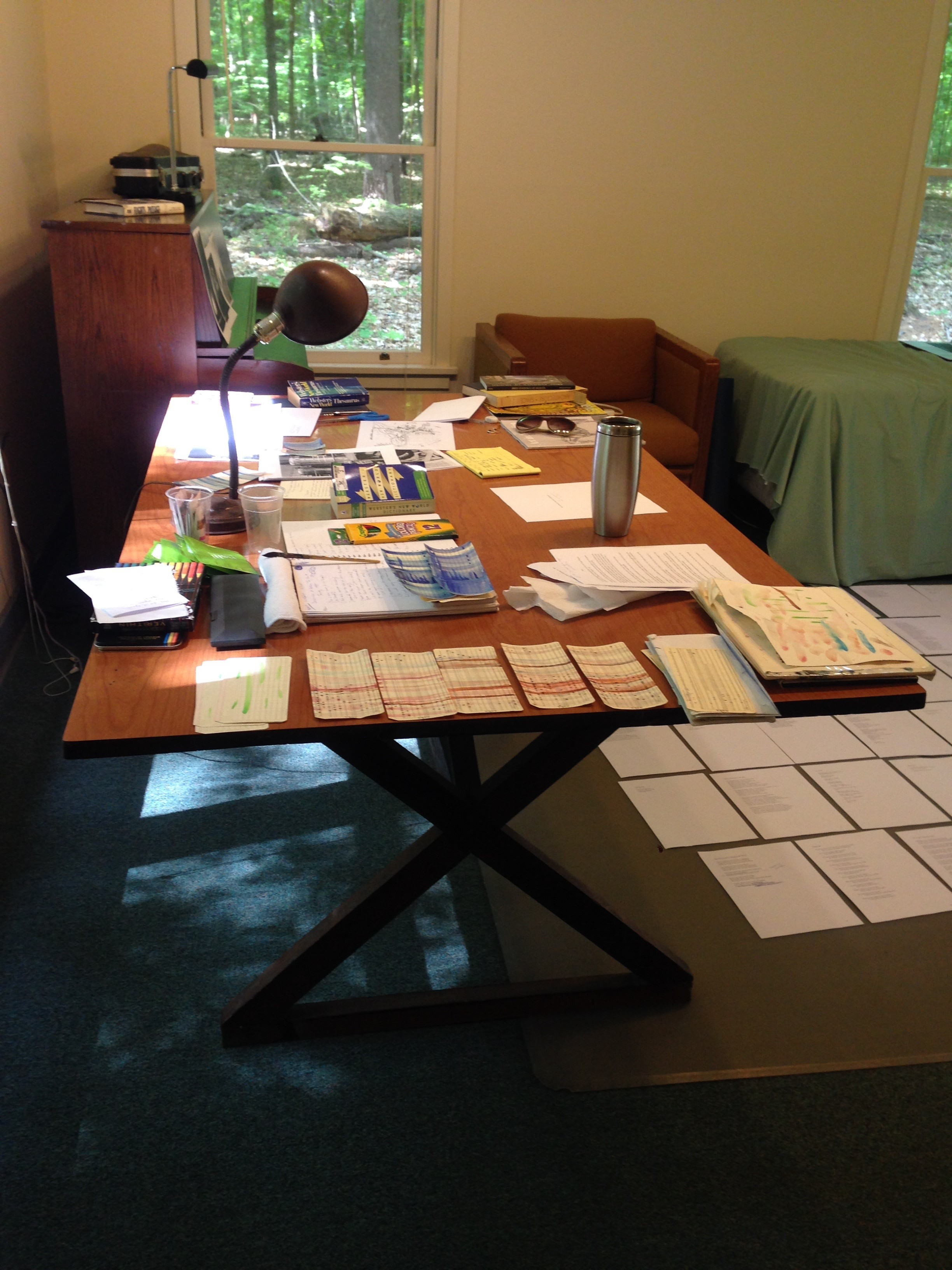 Papers, punch cards, and other materials laid out on a table. A leafy green forest on view through the far window.