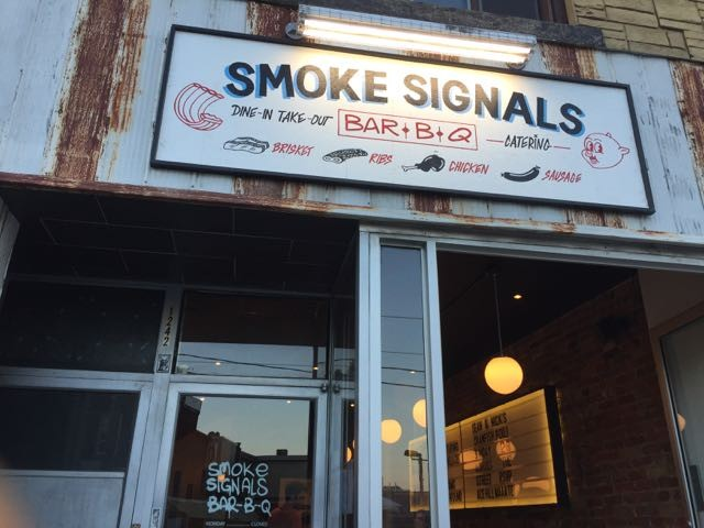 Exterior of Toronto's Smoke Signals Bar-B-Q restaurant.