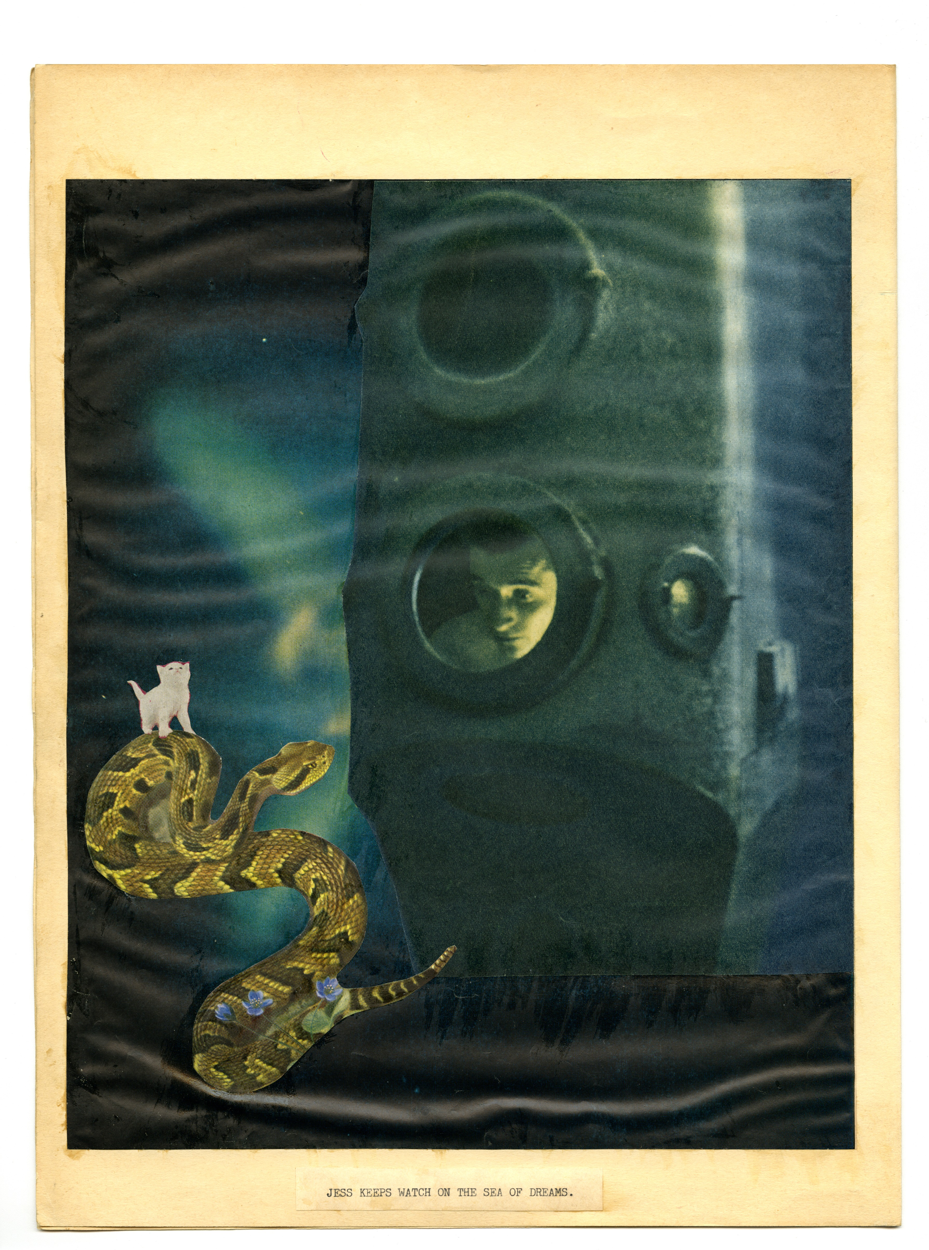 "A man looks out of a submarine into the ocean, with a small white cat riding a snake in the water. At the bottom, the words ""JESS KEEPS WATCH OF THE SEA OF DREAMS."""