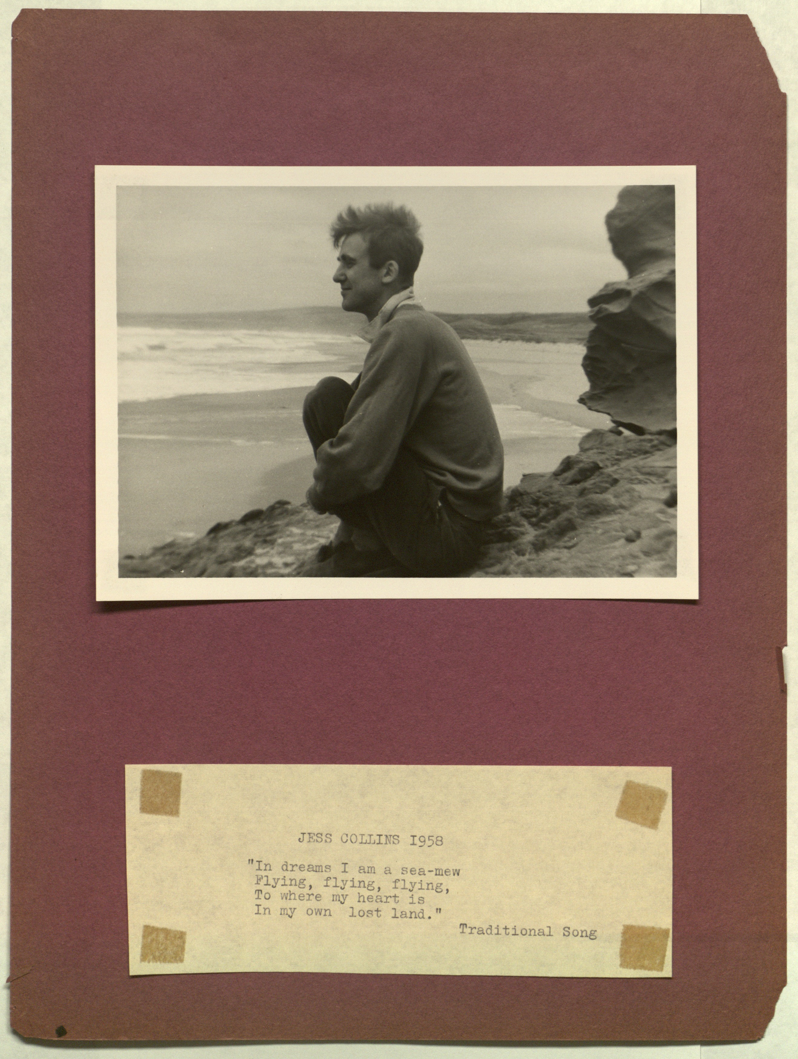 "An image of a man in profile staring into the sea. Below, the words: ""JESS COLLINS 1958 // 'In dreams I am a sea-mew / Flying, flying, flying, / To where my heart is / In my own lost land.' / Traditional Song."""