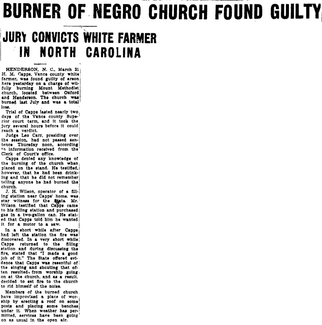 """Burner of Negro Church Found Guilty"" headline, newspaper clipping."