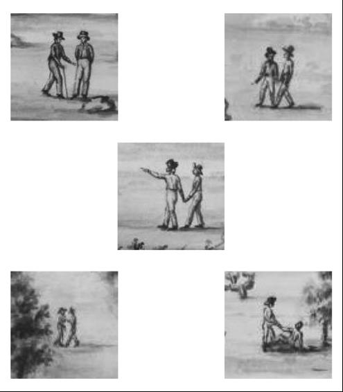 5 drawings from Juan Luis Berlandier, 1828. Men in the desert walking hand in hand.