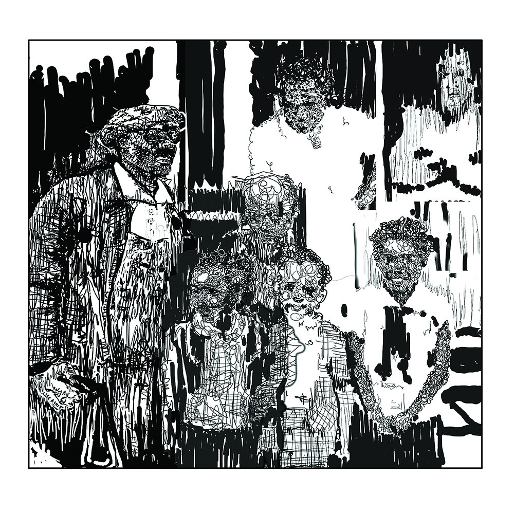 B&W drawing of a family portrait