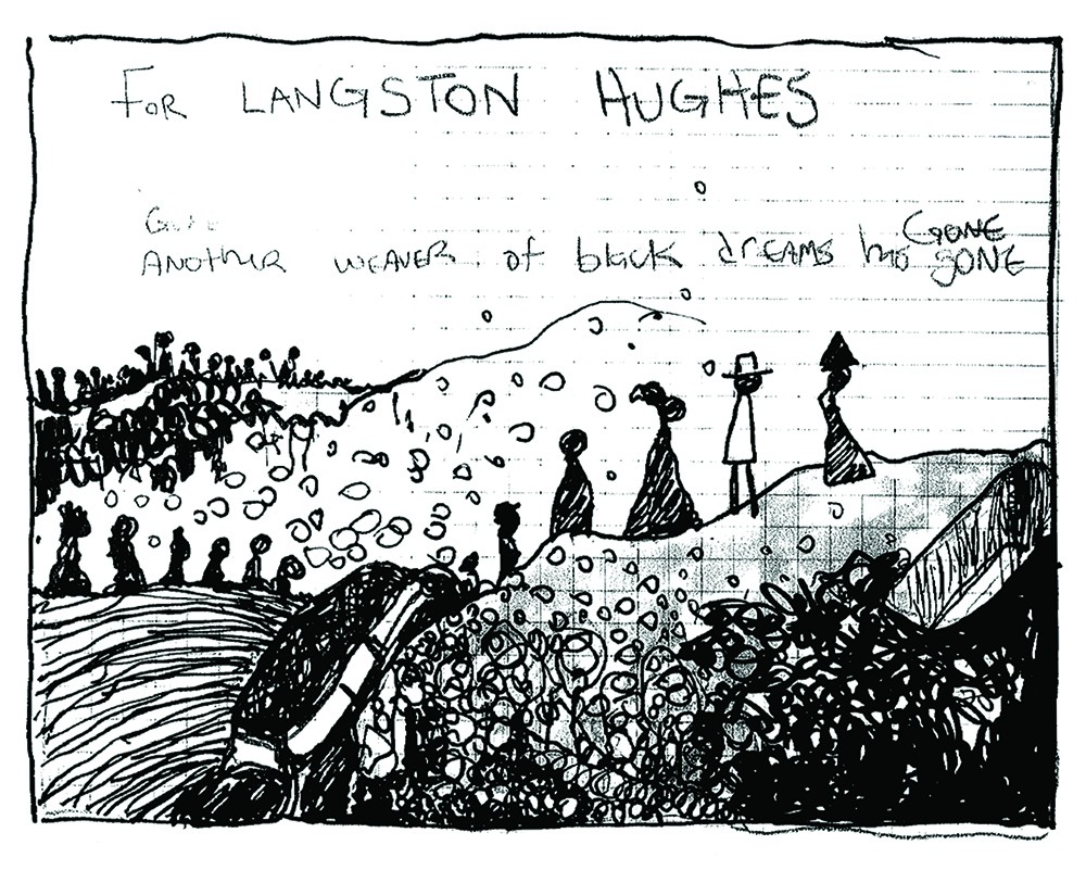 B&W one panel drawing of people walking up a hill, with handwritten words.