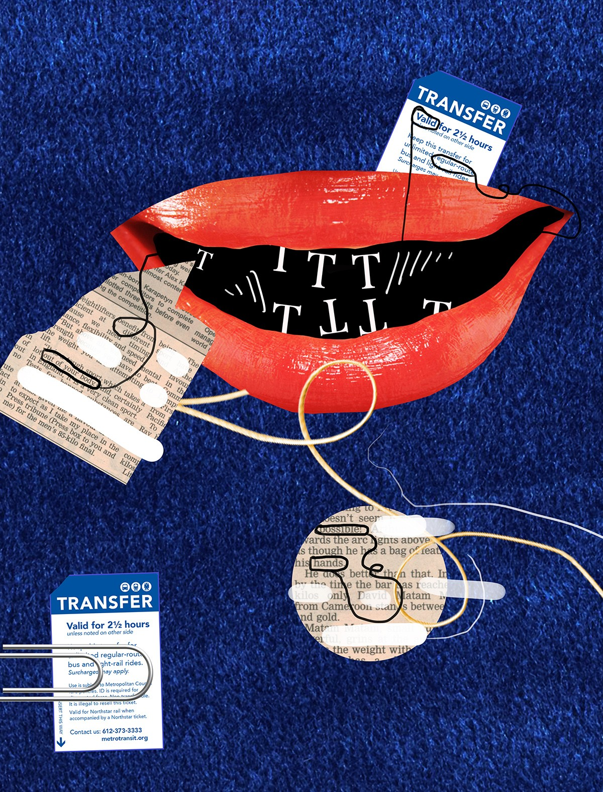 Collage including red lips, public transit cards, and a paperclip.