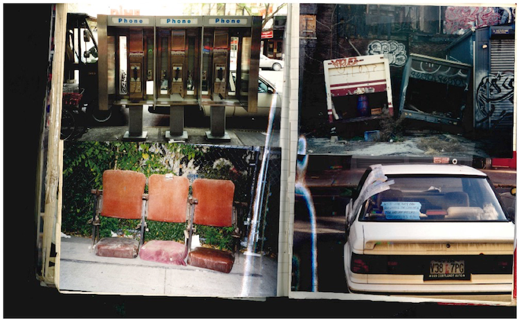 Clockwise from the left, phone booths, lot connected to squat, car broken into after 9-11, theater chairs circa late 19th century.