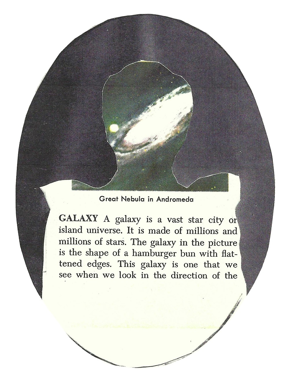 """Collage of a cut-out silhouette and text explaining the term """"galaxy."""""""