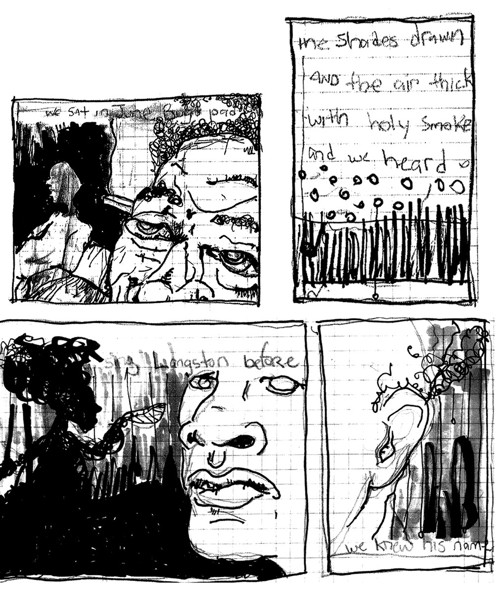 B&W four panel drawing of two faces and handwritten words.