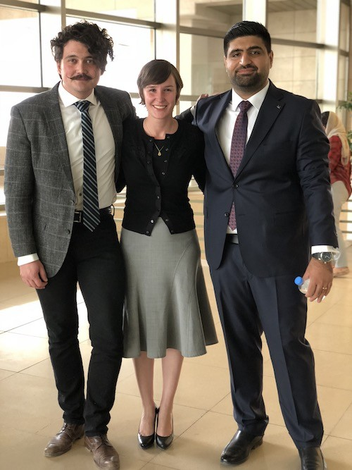 Event organizers David Shook (L) and Bryar Bajalan (R) pose with Kashkul director Dr. Alana Marie Levinson LaBrosse (center). Photo by Shene Mohammed.