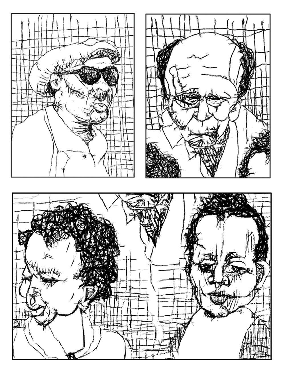 B&W three panel drawing of two men and two girls.