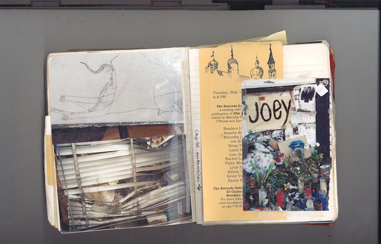 Clockwise: Found drawing, Joey Ramone shrine at CBGBs, flyer for the City, and window of Capital Silver.