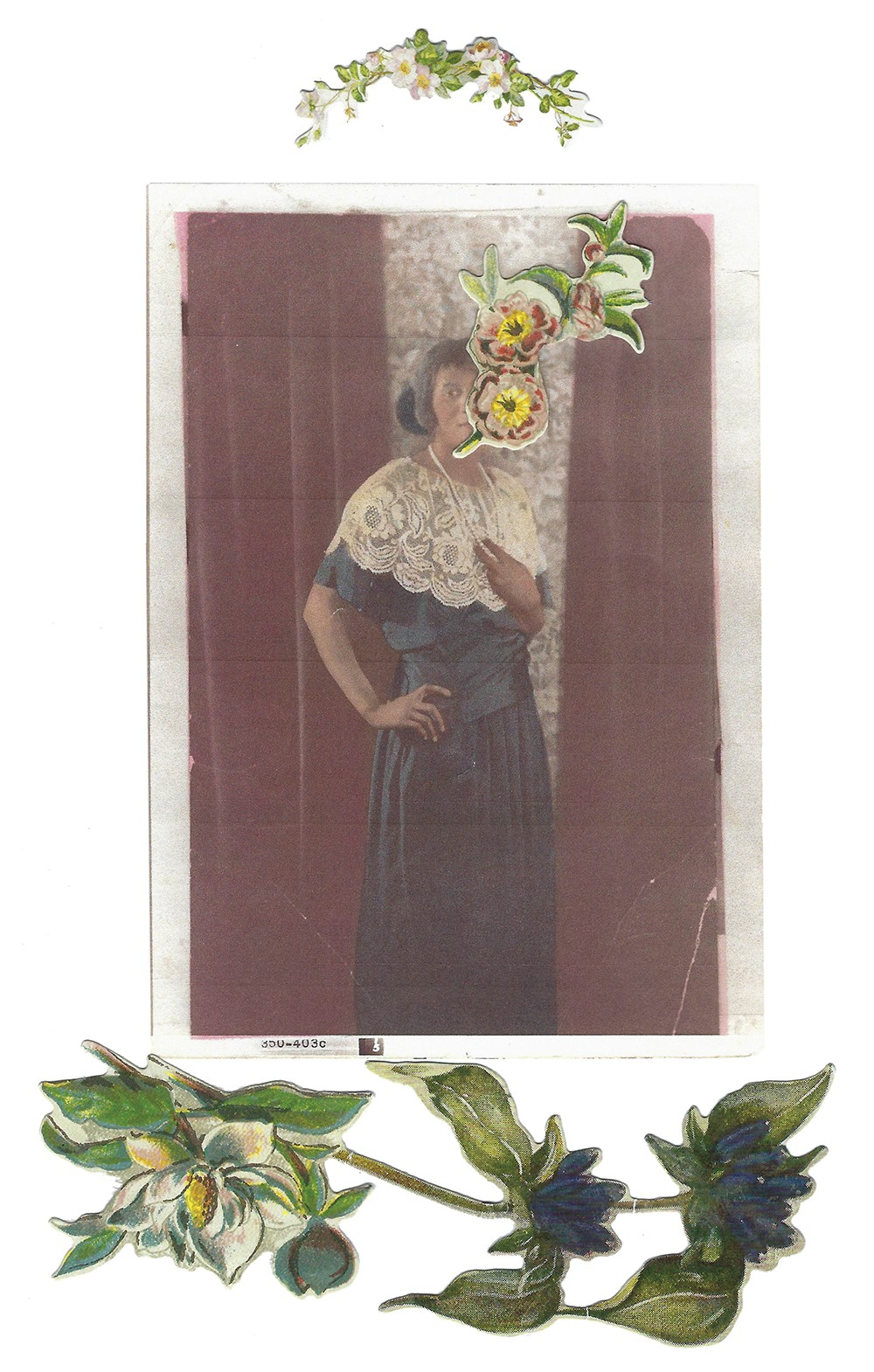 Collage of a woman wearing a lace dress and pearls, with cut-out flowers overlaid.