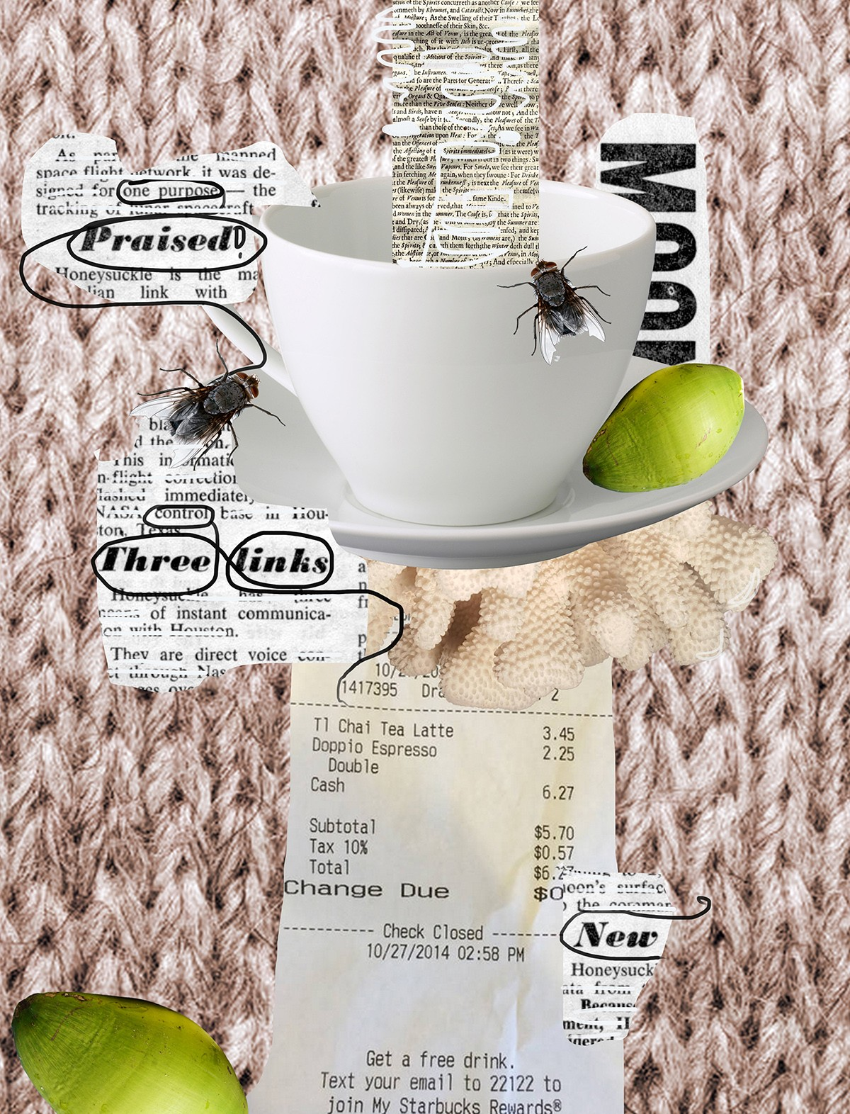 Collage including teacup, receipts, and flies.