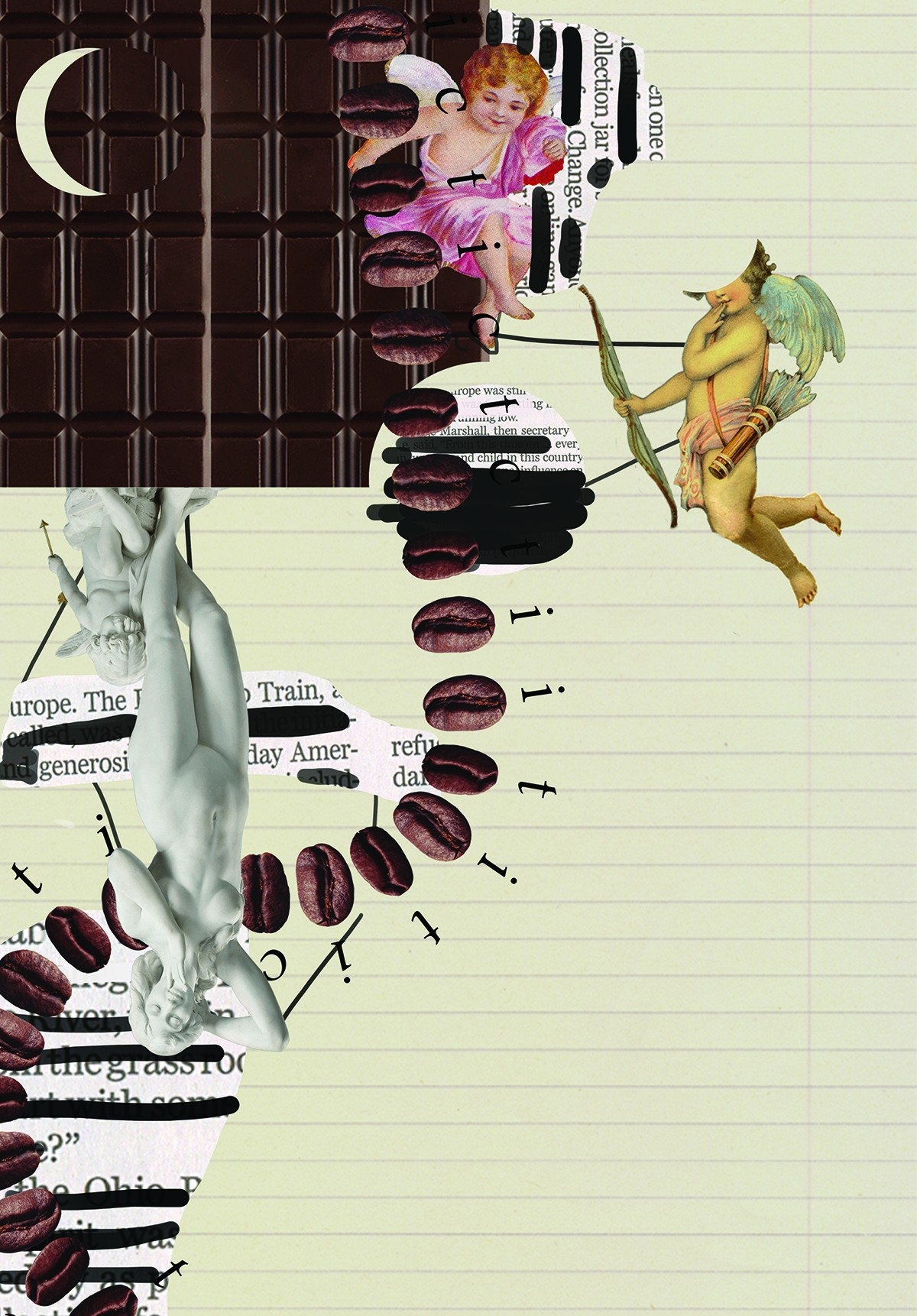 Collage including cherubs, chocolate bar, marble statue, coffee beans, and ruled notebook paper.