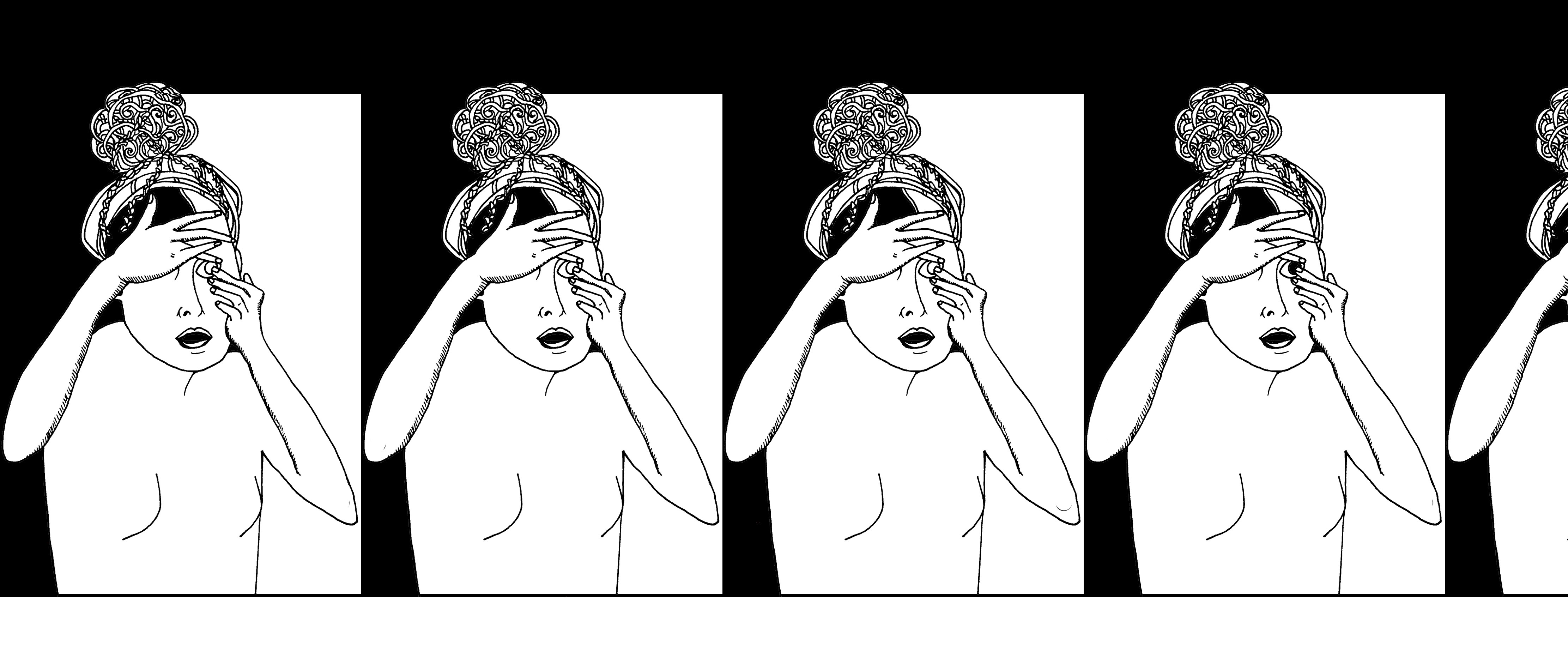 A black and white illustration of a woman who is touching her finger to her eyeball as if to place in a contact. The image repeats 3.5 times across the page. The background is black, with a white rectangle behind each repetition of the woman.