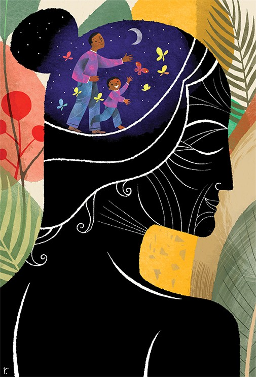 illustration of a black silhouette of a woman in front of a colorful landscape of palm leaves and other tree silhouettes. In her head is a depiction of a man and his son surrounded by starlight and butterflies with a crescent moon.