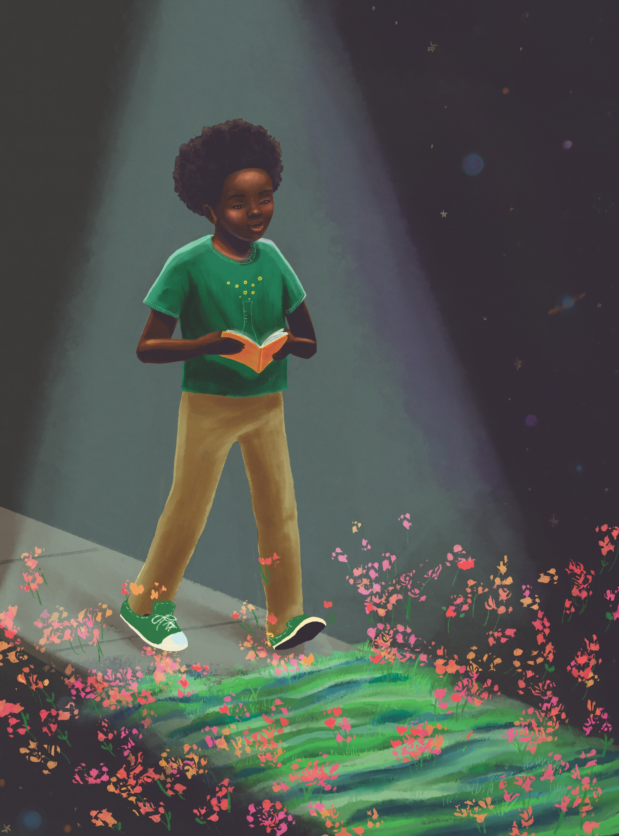 Illustration of a Black youth in a green t-shirt walking with an orange book in her hands. The background is black with flowers on the forefront.