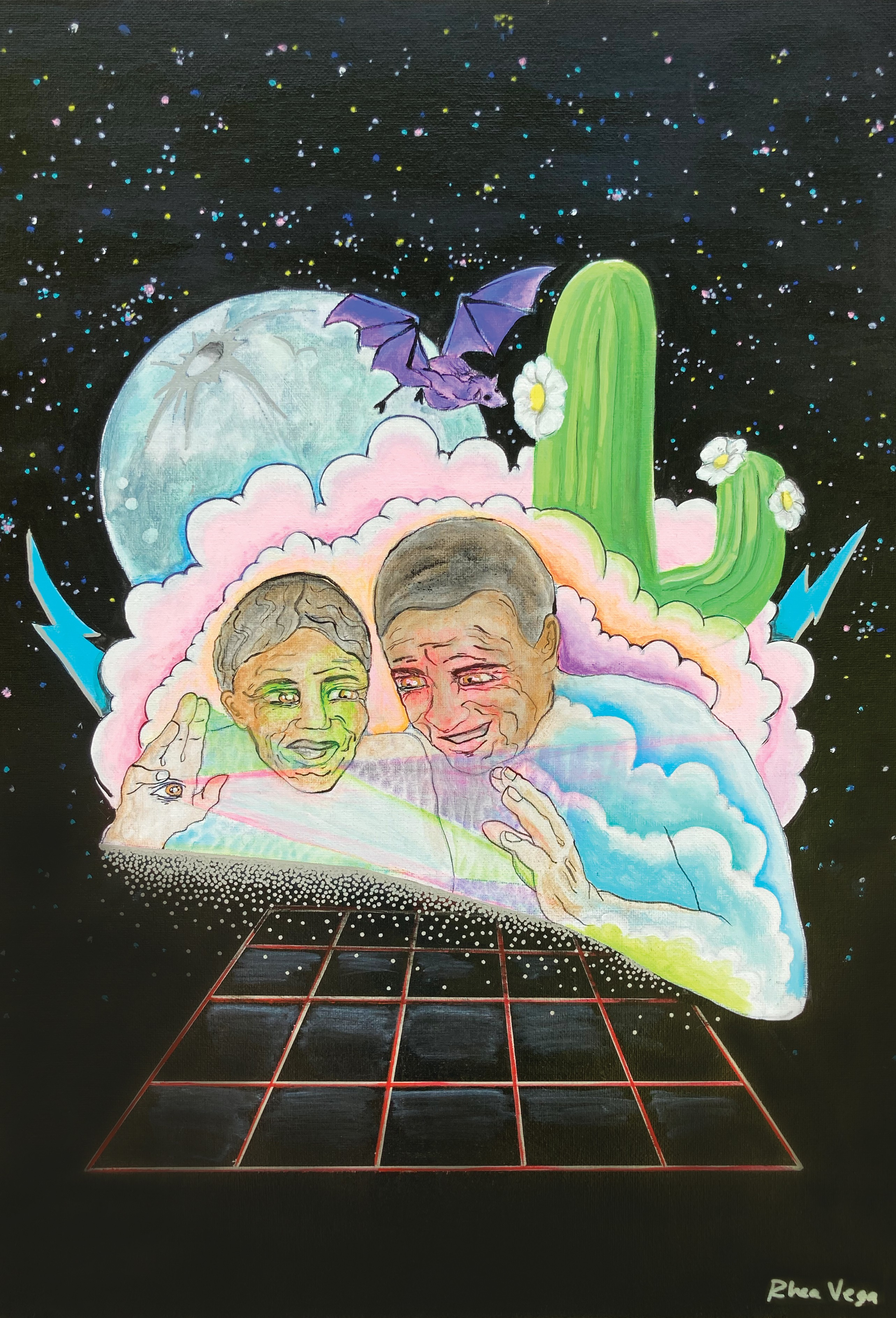 Illustration by Rhea Vega. Two older Black people face each other on a background of stars, clouds, and a flowering cactus. They appear to hover over a grid.