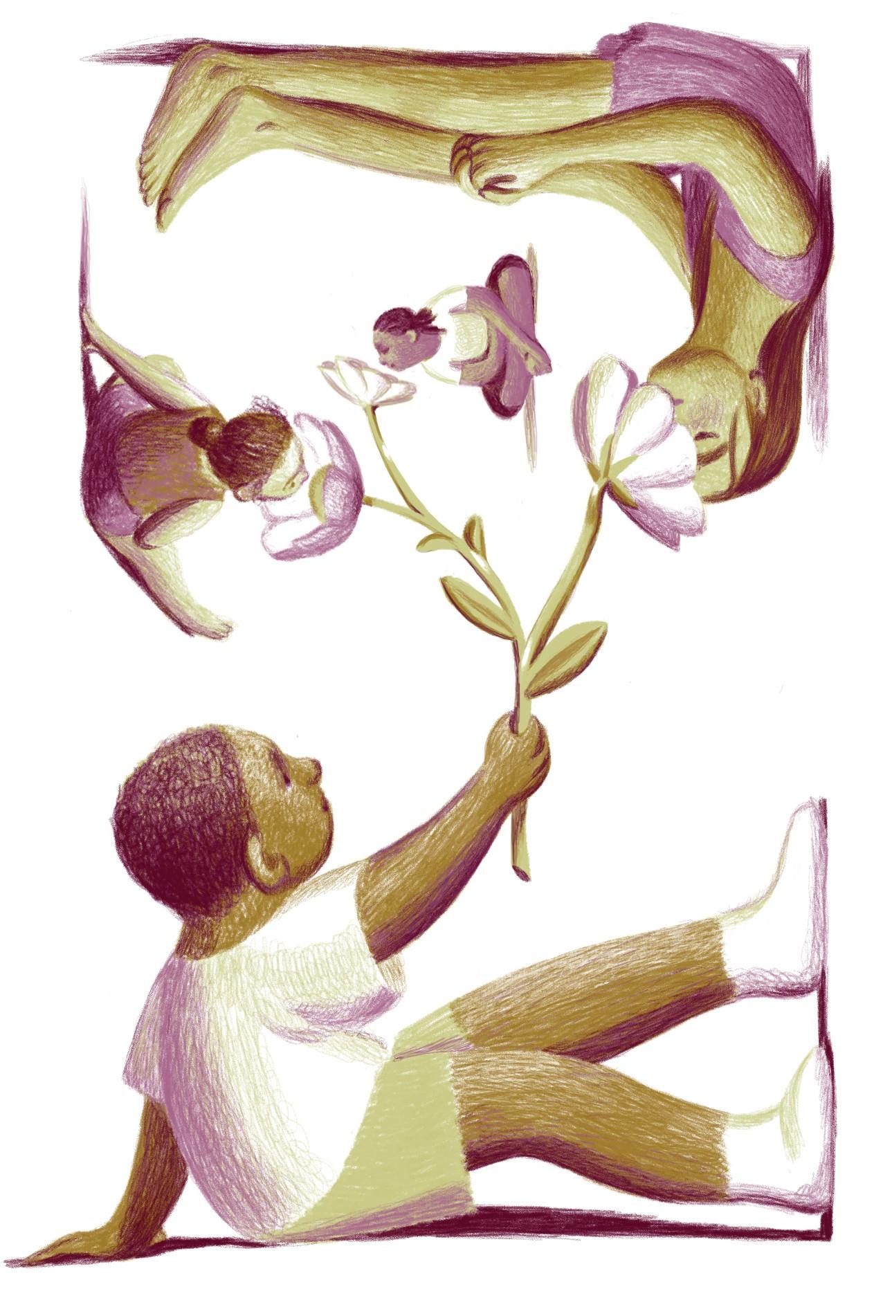 Illustration by Jillian Tamaki of children holding flowers